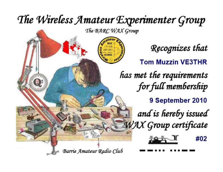 WAX Group Certificate